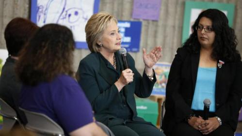 Democratic presidential candidate Hillary Clinton speaks at a roundtable on women and families, Friday, Feb. 19, 2016, in North Las Vegas, Nev. (AP Photo/John Locher)