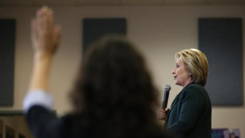 Democratic presidential candidate Hillary Clinton takes questions while speaking to students at Del Sol High School, Friday, Feb. 19, 2016, in Las Vegas. (AP Photo/John Locher)