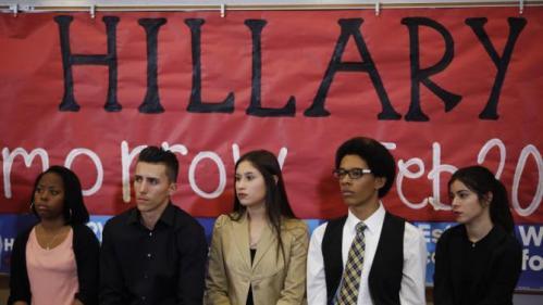Students listen to Democratic presidential candidate Hillary Clinton at Del Sol High School, Friday, Feb. 19, 2016, in Las Vegas. (AP Photo/John Locher)