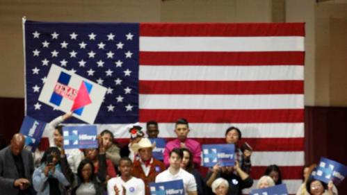 U.S. Democratic presidential candidate Hillary Clinton addresses supporters at a late night rally in Houston after winning the Iowa Democratic caucus, February 20, 2016. Picture taken late February 20, 2016. REUTERS/Daniel Kramer