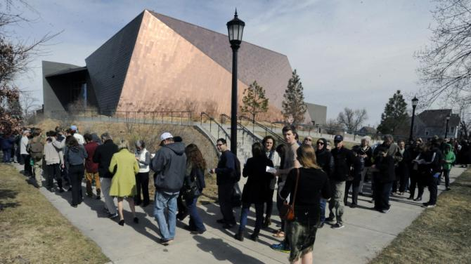A line wraps around the Cornerstone Arts Center at Colorado College as students and residents of Colorado Springs lined up to get in to see former President Bill Clinton speak in support of his wife, Hillary Clinton, for president, on Sunday, Feb. 21, 2016. at Colorado College in Colorado Springs, Colo. (Jerilee Bennett/The Gazettevia AP)
