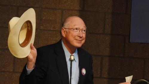 Former U.S. Secretary of the Interior and former U.S. Senator Ken Salazar takes the stage to introduce President Bill Clinton in Colorado College in Colorado Springs, Colo., on Sunday, Feb. 21, 2016, to give a speech in support of his wife, Democratic presidential candidate Hillary Clinton. (Jerilee Bennett/The Gazettevia AP)
