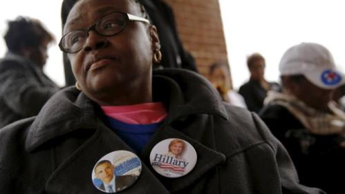 Mary Sobah of Akron, Ohio, waits outside for the start of a town hall meeting with U.S. Democratic presidential candidate Hillary Clinton at Central Baptist Church in Columbia, South Carolina February 23, 2016. REUTERS/Jonathan Ernst