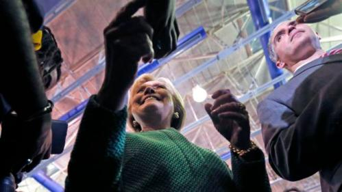 Democratic presidential candidate Hillary Clinton greets audience members after speaking at a campaign event at Morris College in Sumter, S.C., Wednesday, Feb. 24, 2016. (AP Photo/Gerald Herbert)