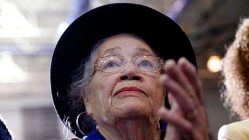 Audience member Ruthell A. Muldrow applauds as Democratic presidential candidate Hillary Clinton speaks at a campaign event at Morris College in Sumter, S.C., Wednesday, Feb. 24, 2016. (AP Photo/Gerald Herbert)