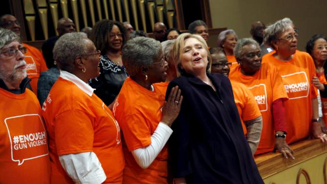U.S. Democratic presidential candidate Hillary Clinton greets supporters after a town hall meeting at Cumberland United Methodist Church in Florence, South Carolina February 25, 2016. REUTERS/Jonathan Ernst TPX IMAGES OF THE DAY