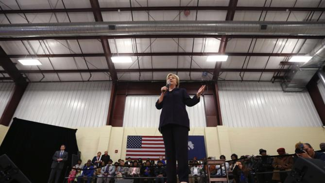 Democratic presidential candidate Hillary Clinton speaks at a town hall style campaign event at the Williamsburg County Recreation Center in Kingstree, S.C., Thursday, Feb. 25, 2016. (AP Photo/Gerald Herbert)