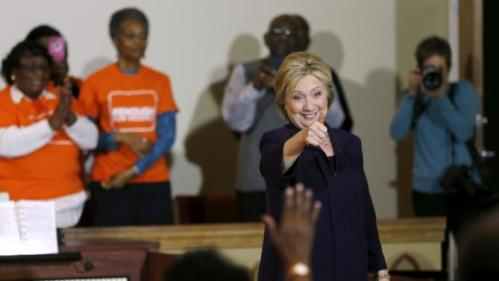 U.S. Democratic presidential candidate Hillary Clinton is applauded after a town hall meeting for supporters at Cumberland United Methodist Church in Florence, South Carolina February 25, 2016. REUTERS/Jonathan Ernst