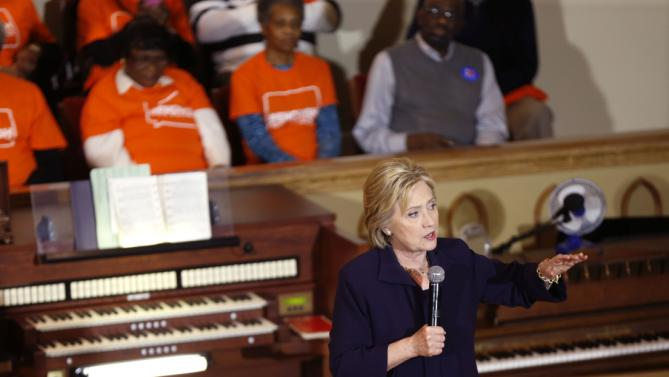 Democratic presidential candidate Hillary Clinton speaks at a campaign event at the Cumberland United Methodist Church in Florence, S.C., Thursday, Feb. 25, 2016. (AP Photo/Gerald Herbert)
