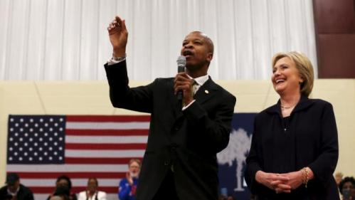 South Carolina State Senator Ronnie Sabb introduces U.S. Democratic presidential candidate Hillary Clinton before her speech to voters at the Williamsburg County Recreation Center in Kingstree, South Carolina, February 25, 2016. REUTERS/Randall Hill