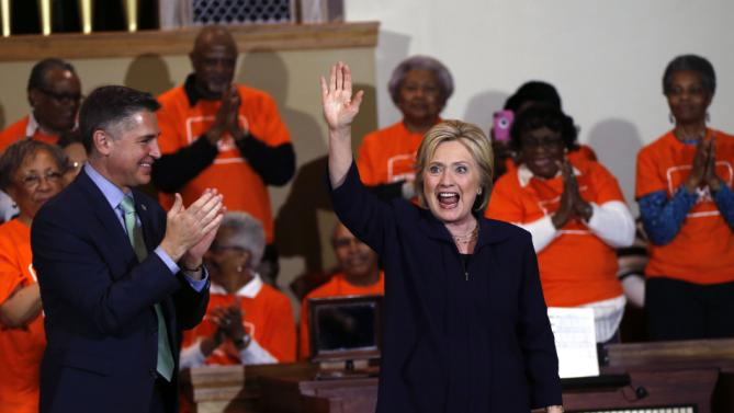 Democratic presidential candidate Hillary Clinton speaks at a campaign event at the Cumberland United Methodist Church in Florence, S.C., Thursday, Feb. 25, 2016. Left is Dan Gross, president of the Brady Campaign and Center to Prevent Gun Violence. (AP Photo/Gerald Herbert)