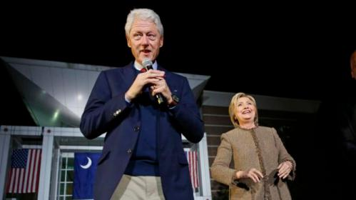 "Democratic presidential candidate Hillary Clinton and her husband, former President Bill Clinton, speak at a ""Get Out The Vote Rally"" in Columbia, S.C., Friday, Feb. 26, 2016. (AP Photo/Gerald Herbert)"