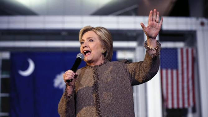 "Democratic presidential candidate Hillary Clinton speaks at a ""Get Out The Vote Rally"" in Columbia, S.C., Friday, Feb. 26, 2016. (AP Photo/Gerald Herbert)"