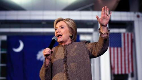 """Democratic presidential candidate Hillary Clinton speaks at a """"Get Out The Vote Rally"""" in Columbia, S.C., Friday, Feb. 26, 2016. (AP Photo/Gerald Herbert)"""