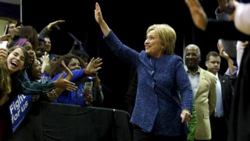 U.S. Democratic presidential candidate Hillary Clinton waves to supporters at Miles College in Fairfield, Alabama February 27, 2016. REUTERS/Jonathan Ernst