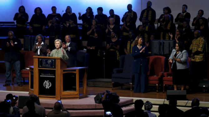 U.S. Democratic presidential candidate Hillary Clinton speaks during a church service at the Greater Imani Cathedral of Faith in Memphis, Tennessee, February 28, 2016. REUTERS/Jonathan Ernst