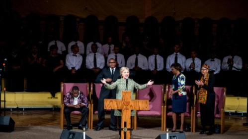 Democratic presidential candidate Hillary Clinton speaks at Mississippi Boulevard Christian Church in Memphis, Tenn., Sunday, Feb. 28, 2016. (AP Photo/Andrew Harnik)