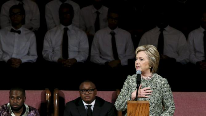 U.S. Democratic presidential candidate Hillary Clinton speaks during a worship service at the Mississippi Boulevard Christian Church in Memphis, Tennessee, February 28, 2016. REUTERS/Jonathan Ernst