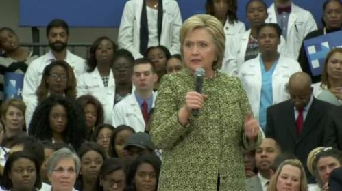 Democratic presidential candidate Hillary Clinton addresses supporters in Nashville, Tennessee, a day after winning the South Carolina primary. Rough Cut (no reporter narration).