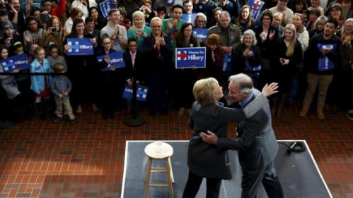 U.S. Democratic presidential candidate Hillary Clinton arrives with U.S. Representative Richard Neal (D-MA) to rally with supporters at Wood Museum of Springfield History in Springfield, Massachusetts February 29, 2016. REUTERS/Jonathan Ernst
