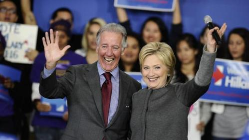 Democratic presidential candidate Hillary Clinton and Rep. Richard Neal, D-Mass. wave during a campaign event, Monday, Feb. 29, 2016, in Springfield, Mass. (AP Photo/Jessica Hill)