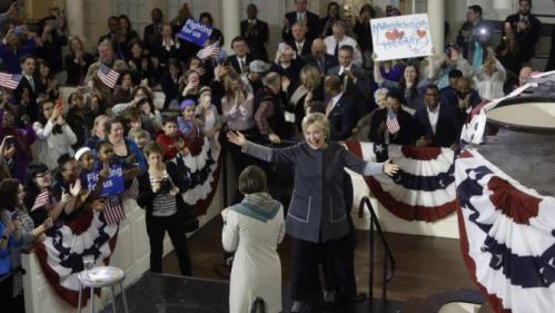 Democratic presidential candidate Hillary Clinton takes the stage after being introduced by Massachusetts Attorney General Maura Healey at a campaign event at the Old South Meeting House, Monday, Feb. 29, 2016, in Boston. (AP Photo/Elise Amendola)