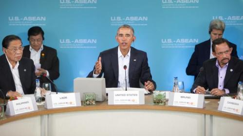 President Barack Obama, center, speaks at the plenary session meeting of ASEAN, the 10-nation Association of Southeast Asian Nations, at the Annenberg Retreat at Sunnylands in Rancho Mirage, Calif., for Monday, Feb. 15, 2016. Sitting with Obama are Laos' president, Choummaly Sayasone, left, and Brunei's sultan, Hassanal Bolkiah, right. (AP Photo/Pablo Martinez Monsivais)