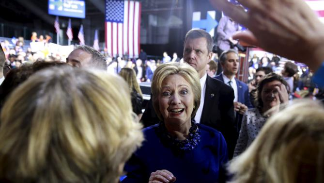 Democratic U.S. presidential candidate and former Secretary of State Hillary Clinton addresses supporters after a Hillary for America rally in New York March 2, 2016. REUTERS/Lucas Jackson