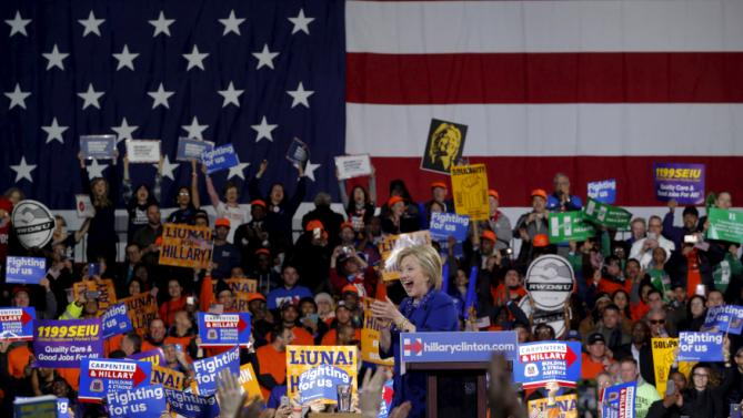 Democratic U.S. presidential candidate and former Secretary of State Hillary Clinton addresses a Hillary for America rally in New York March 2, 2016. REUTERS/Lucas Jackson