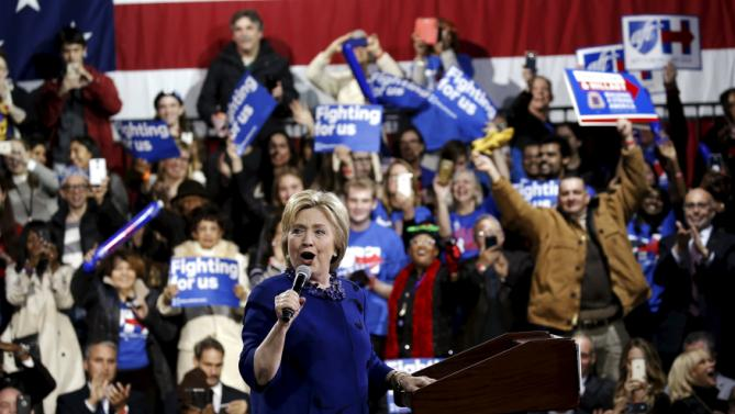 U.S. Democratic presidential candidate Hillary Clinton speaks to supporters at a campaign event in the Manhattan borough of New York City, March 2, 2016. REUTERS/Mike Segar