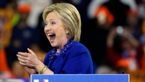 Democratic presidential candidate Hillary Clinton smiles after speaking at a rally Wednesday, March 2, 2016, in New York. (AP Photo/Frank Franklin II)