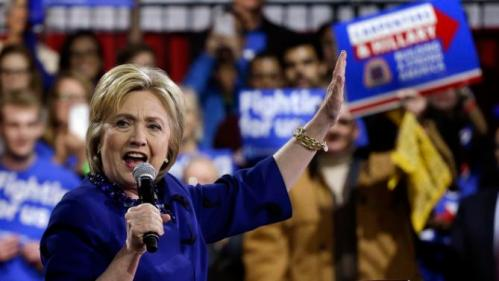 Democratic presidential candidate Hillary Clinton speaks during a rally, Wednesday, March 2, 2016, in New York. (AP Photo/Julie Jacobson)