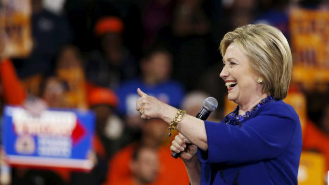 Democratic U.S. presidential candidate Hillary Clinton addresses a 'Hillary for America' rally in New York March 2, 2016. REUTERS/Lucas Jackson