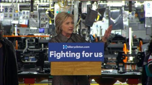 "Democratic presidential candidate Hillary Clinton slams her rivals' stance on the economy at the Republican debate in Detroit, says ""it was basically an afterthought."" Rough Cut (no reporter narration)."