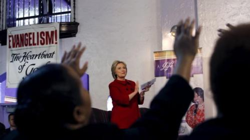 U.S. Democratic presidential candidate Hillary Clinton attends a mass at the Holy Ghost Cathedral in Detroit, Michigan, March 6, 2016. REUTERS/Carlos Barria