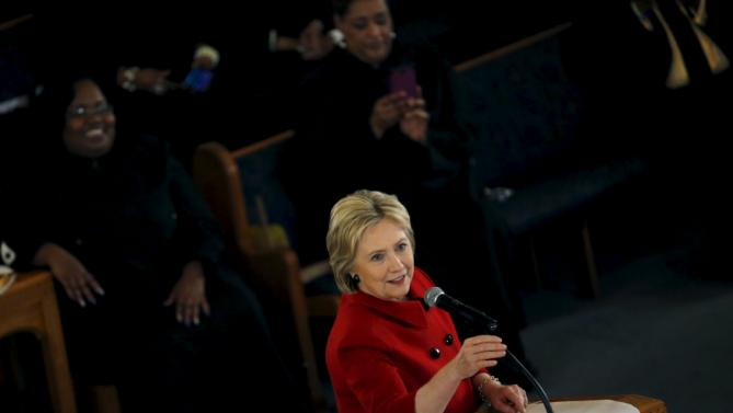 U.S. Democratic presidential candidate Hillary Clinton speaks at a mass at the Russell Street Baptist Church during a campaign stop in Detroit, Michigan, March 6, 2016. REUTERS/Carlos Barria