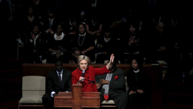 U.S. Democratic presidential candidate Hillary Clinton speaks at a mass at the Triumph Church during a campaign stop in Detroit, Michigan, March 6, 2016. REUTERS/Carlos Barria