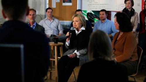 U.S. Democratic presidential candidate Hillary Clinton speaks to employees during a campaign stop at Atomic Object company in Grand Rapids, Michigan, March 7, 2016. REUTERS/Carlos Barria