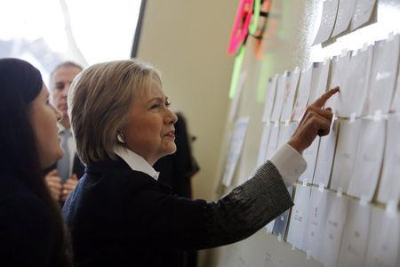 U.S. Democratic presidential candidate Hillary Clinton visits Atomic Object company during a campaign stop in Grand Rapids, Michigan, March 7, 2016. REUTERS/Carlos Barria