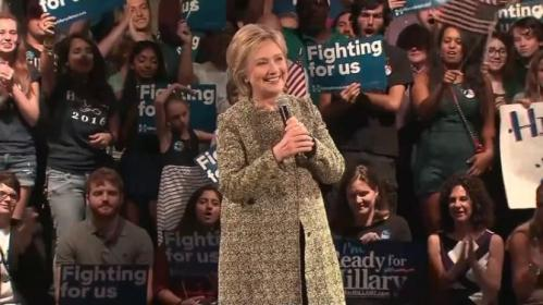 Hillary Clinton encourages her supporters to vote early in the upcoming Florida Democratic primary and says she will happily take on any of the Republican candidates in November. Rough Cut (no reporter narration).