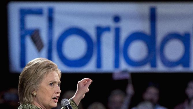 "Democratic presidential candidate Hillary Clinton speaks during a ""Get Out the Vote"" campaign event at the The Ritz Ybor in Tampa, Fla., Thursday, March 10, 2016. (AP Photo/Carolyn Kaster)"