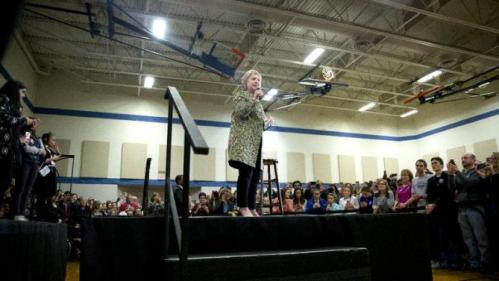 Democratic presidential candidate Hillary Clinton speaks during a campaign event at Sullivan Community Center and Family Aquatic Center in Vernon Hills, Ill., Thursday, March 10, 2016. (AP Photo/Carolyn Kaster)