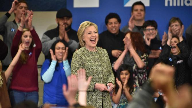 Democratic presidential candidate Hillary Clinton reacts to her supporters' applaud during a campaign event in Vernon Hills, Ill., Thursday, March 10, 2016. (John Starks/Daily Herald via AP) MANDATORY CREDIT