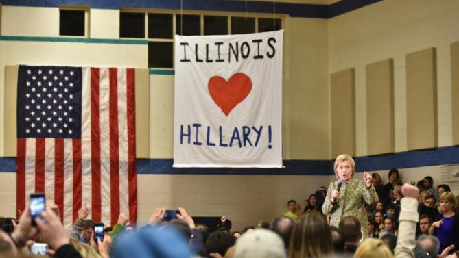 Democratic presidential candidate Hillary Clinton speaks during a campaign event in Vernon Hills, Ill., Thursday, March 10, 2016. (John Starks/Daily Herald via AP) MANDATORY CREDIT