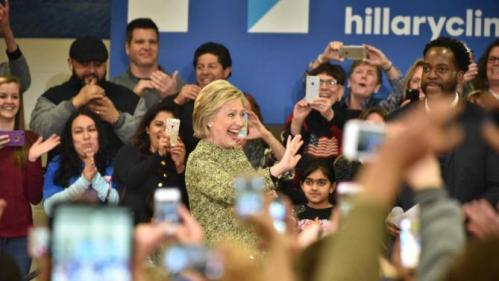 Democratic presidential candidate Hillary Clinton waves at audience members during a campaign event in Vernon Hills, Ill., Thursday, March 10, 2016. (John Starks/Daily Herald via AP) MANDATORY CREDIT
