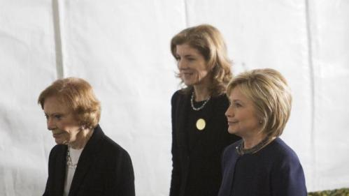 SIMI VALLEY, CA - MARCH 11:  Former first lady Rosalynn Carter (L), Caroline Kennedy and Democratic presidential candidate Hillary Clinton (R) follow the casket during funeral and burial services for former first lady Nancy Reagan at the Ronald Reagan Presidential Library on March 11, 2016 in Simi Valley, California. The first lady is being buried at the library next to her husband, who died on June 5, 2004. Nancy Reagan died of heart failure at the age of 94. (Photo by David McNew/Getty Images)
