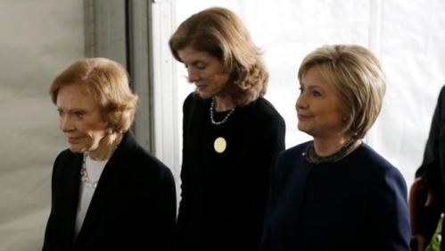Rosalynn Carter, left, Caroline Kennedy, center, and Hillary Clinton, right, leave the funeral service for former First Lady Nancy Reagan at the Ronald Reagan Presidential Library Friday, March 11, 2016, in Simi Valley, calif. (AP Photo/Jae C. Hong)