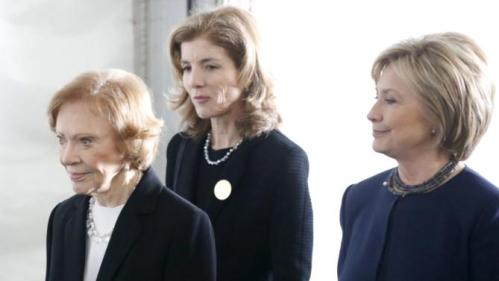 Former first lady Rosalynn Carter (L-R), Caroline Kennedy, and Hillary Clinton walk to the grave site after the funeral of Nancy Reagan at the Ronald Reagan Presidential Library in Simi Valley, California, United States, March 11, 2016. REUTERS/Lucy Nicholson