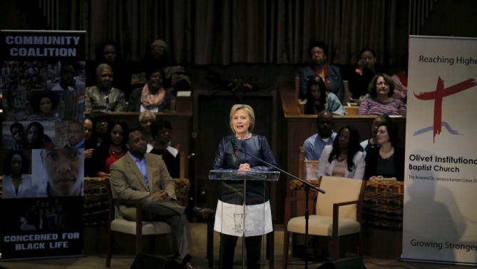 Democratic U.S. Presidential candidate Hillary Clinton speaks at the Olivet Institutional Baptist Church during a campaign stop in Cleveland, Ohio, March 12, 2016. REUTERS/Carlos Barria