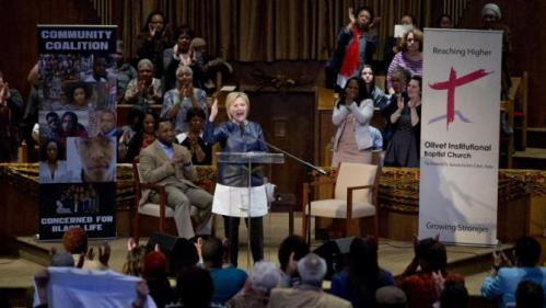 Democratic presidential candidate Hillary Clinton speaks during a town hall meeting at Olivet Institutional Baptist Church in Cleveland, Saturday, March 12, 2016. (AP Photo/Carolyn Kaster)